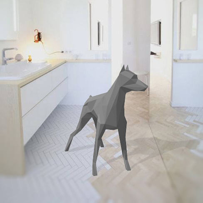 Great Dane Dog Geometric Origami 3D solid paper model paper carving three dimensional DIY handmade creative