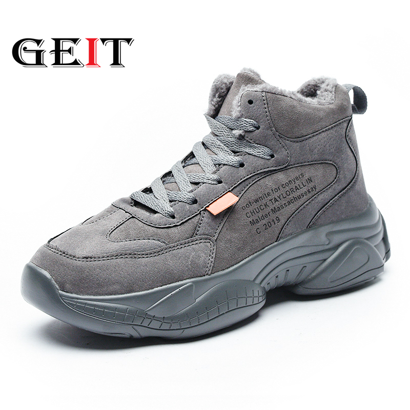 2019 New Arrival Running Shoes For Men Winter Mid-top Cotton Outdoor Shoes Comfortable Keep Warm Zapatillas Hombre Deportiva