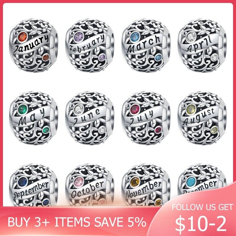 2020 Hot Sale100% Real 925 Sterling Silver Beads Charm Fit Original Design Bracelet Birthstone Pendant Dangle Birthday Gift(China)