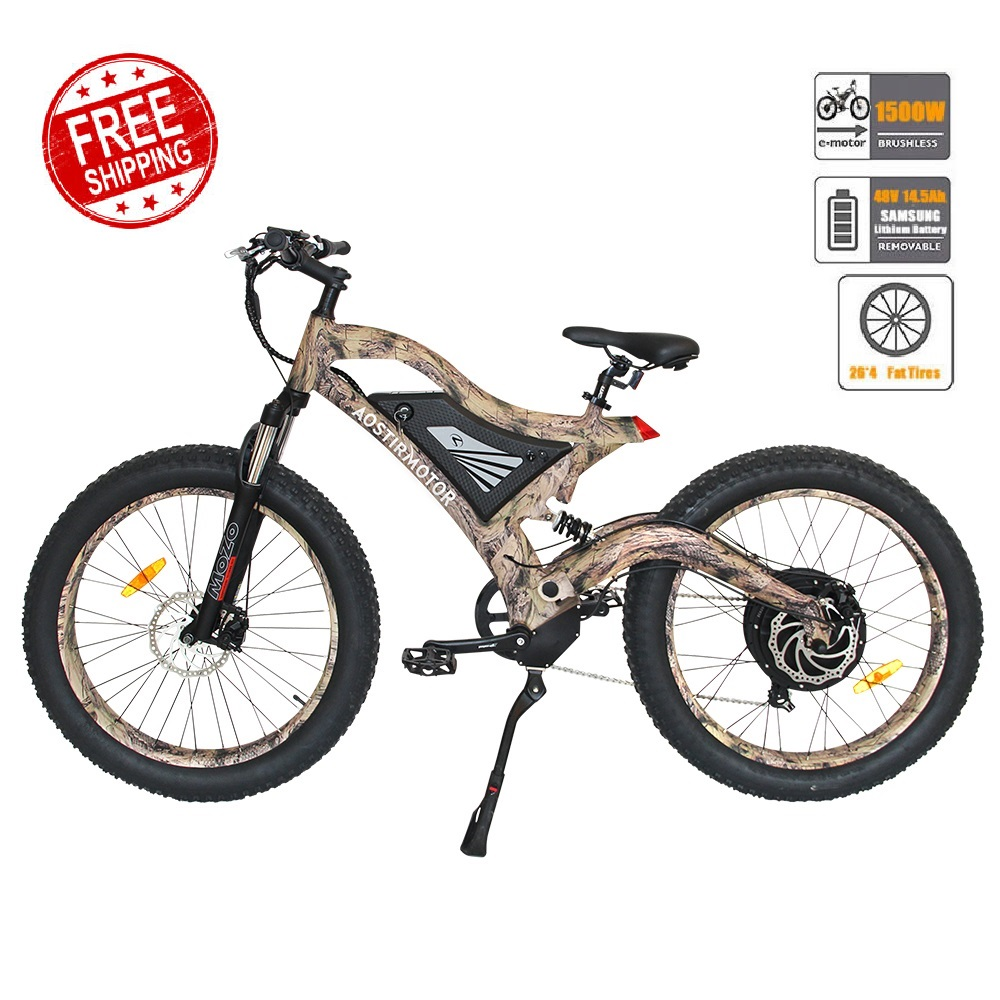AOSTIRMOTOR Electric Mountain Bike Fat Tire Electric Bicycle Beach Cruiser Snow Bike 1500W E-Bike 48V 14.5Ah Lithium Battery