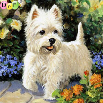 DPF 5D Diy diamond painting round full diamond Little white dog embroidery cross stitch kit mosic home decoration gift image
