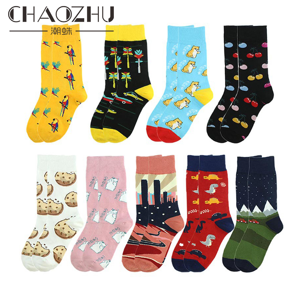CHAOZHU Unisex Boys Girls Fashion Sneaker Calcetines Happy Socks For Male Female Character Dog Cookie Apple Dinosaur Casual Sox