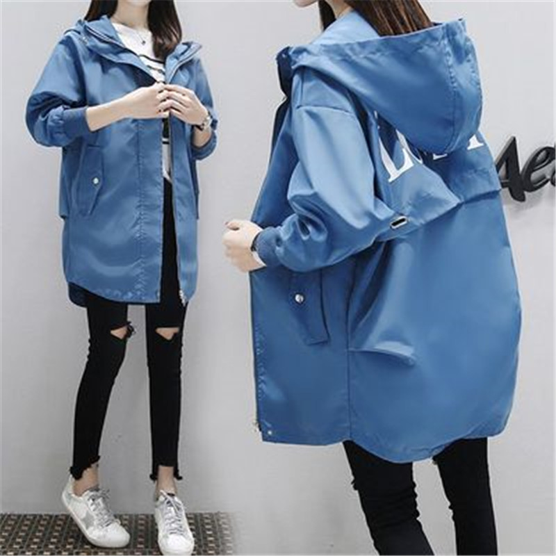 Plus Size 3XL Women's   Trench   Coat 2019 Spring Autumn New Big Size Long Sleeve Hooded Solid Color Slim Windbreaker Coat 805