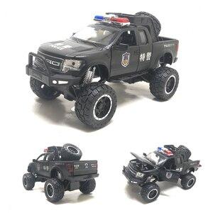 Image 2 - Raptor F150 camioneta de juguete de Metal con sonido de destellos musicales, modelo 1:32, regalo de cumpleaños, Envío Gratis