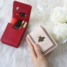 Nowe damskie szminki portfele moda marka przenośna torba na kosmetyki do makijażu z lustrem Lipstic Case haft kobieta skórzany schowek torebka tanie tanio cicicuff Skóra Split CN (pochodzenie) real leather coin purse for woman Animal prints COVER K-3807 Cosmetic bags Makeup Bags