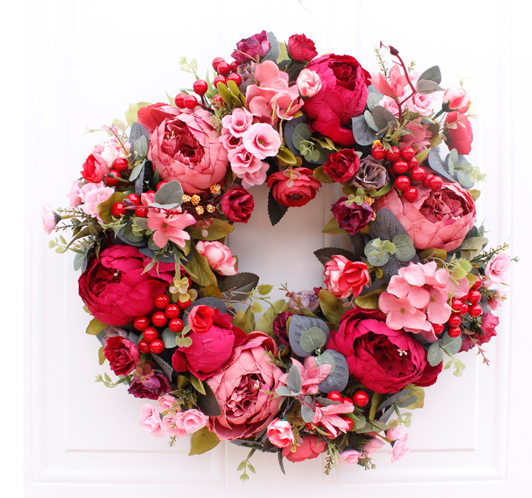 Red Peony Wreath Door Artificial Flower Wreath For Home Christmas Decorations Door Garland Wedding Decoration Home Party Decor