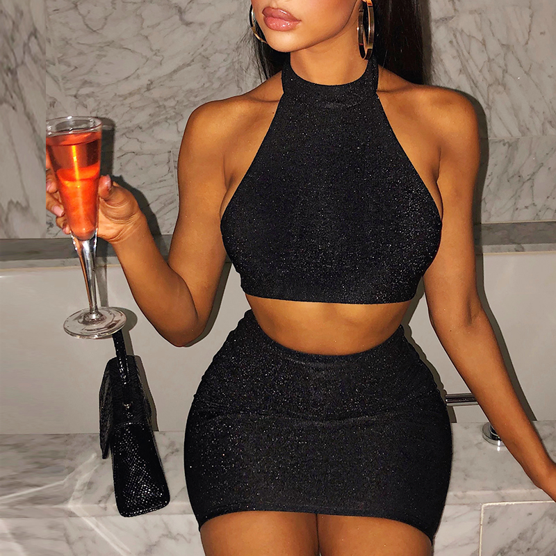 Colysmo Shiny Stretch 2 Piece Set Women Backless Crop Top Sexy Two Piece Set Matching Summer Mini Skirt Set Sets Club Outfits