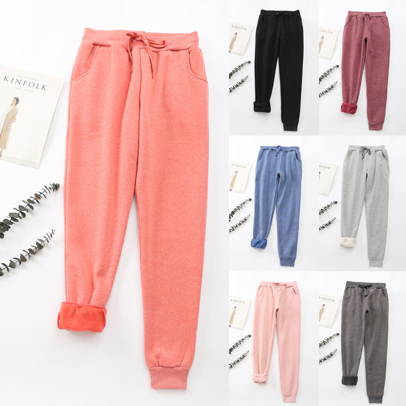 2019 Women Autumn Casual Gym Sweatpants Workout Fleece Trousers Solid Thin Winter Warm Female Sport Pants Running