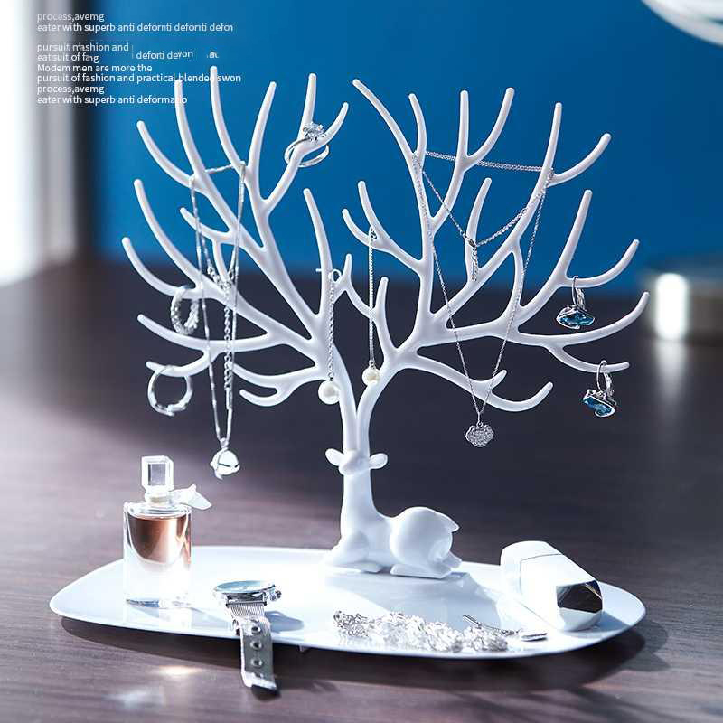 Jewelry Display Stand Tray Tree Deer Earrings Necklace Ring Pendant Bracelet Storage Racks Organizer Jewelry Shelf Holder Desk