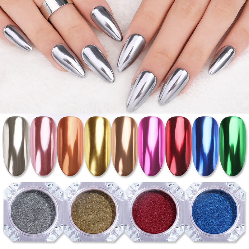 1 Box Mirror Nail Powder Glitter Dust Metallic Colorful Glitter Metal Effect N0ail Art UV Gel Polish Chrome Pigment Dust Powder