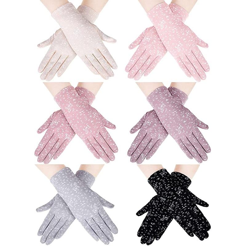 Women Summer Anti-slip Touch Screen Elastic Thin Gloves Cotton Sun Protection Gloves