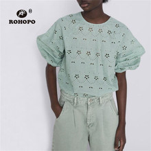 ROHOPO Autumn Light Green Woman Embroidery Daisy Pullover Cotton Blouse Three Quarter Back Buttons Fly Solid Shirt #9059