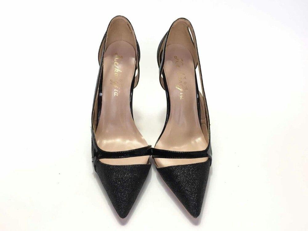 Keshangjia/пикантные туфли на высоком каблуке больших размеров 44; Женские туфли-лодочки; Милые Роскошные черные свадебные туфли; Туфли-лодочки с ...