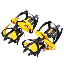 10 Teeth açık tırmanma Antiskid krampon ayarlanabilir kış yürüyüş buz dağcılık kar ayakkabıları manganez çelik kayma ayakkabı kapakları