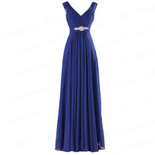 Crystal Beading Sashes V-neck Long Bridesmaid Dresses Sexy A
