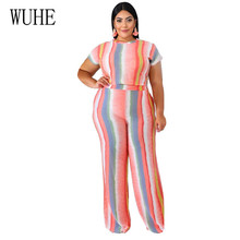 WUHE Two Pieces Sets Striped Playsuits Elegant O Neck Short Sleeve Top + Loose Pants Summer Women Casual Jumpsuits Plus Size 5XL