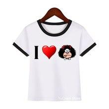 Футболки для девочек с мультяшным принтом i love mafalda забавная