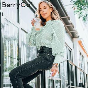 Image 5 - BerryGo エレガントな花の刺繍ブラウスシャツ女性ストリートシフォン女性ブラウスタートルネックパフスリーブ女性ブラウストップ