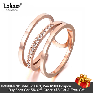 Lokaer Newest Design Titanium Steel Rings Luxury Rose Gold Color Micro Pave AAA Cubic Zircon Wedding Ring For Women R17139