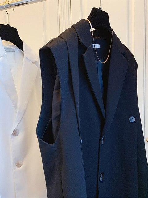 [EWQ] Simple Fashion Trend Ladies Vest Black Office Ladies Clothing 2021 Summer New  Letter Pleated Suit Collar Coats 16W1598 5