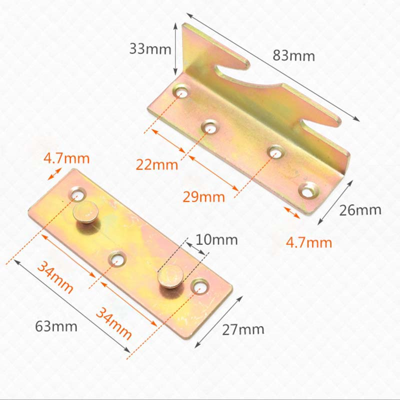 4 Wooden Bed Fixed Plate Heavy Metal Cabinet Hinge Furniture Hardware Parts*4|Cabinet Hinges| |  - title=