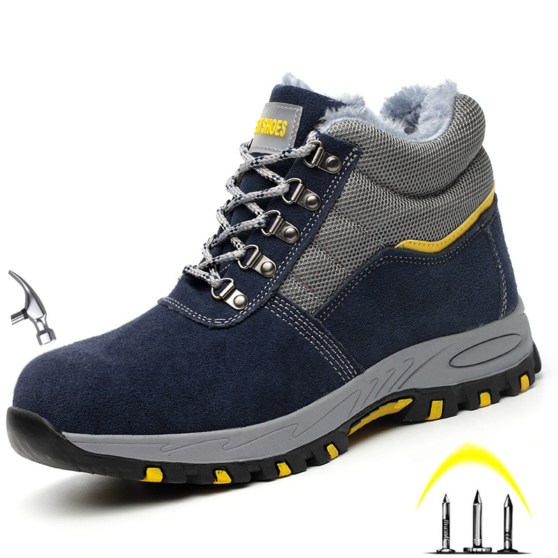 Men's High Top Fashion Steel Toe Anti Smash Safety Shoes Puncture Proof Anti-slip Protective Work Shoes Cow suede Safety shoes