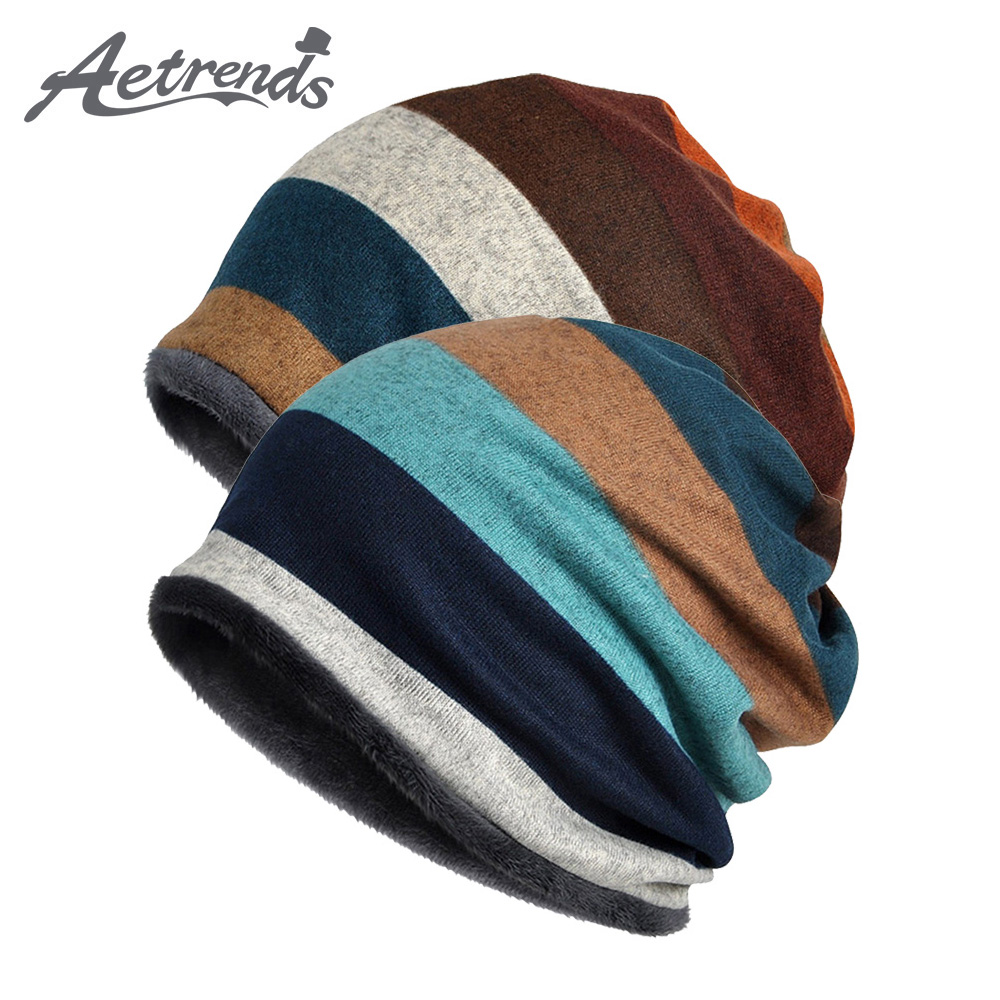 [AETRENDS] Double Layers Cotton Striped Hip Hop Skullies Winter Warm Hats Scarves Beanies Headgear Z-5004