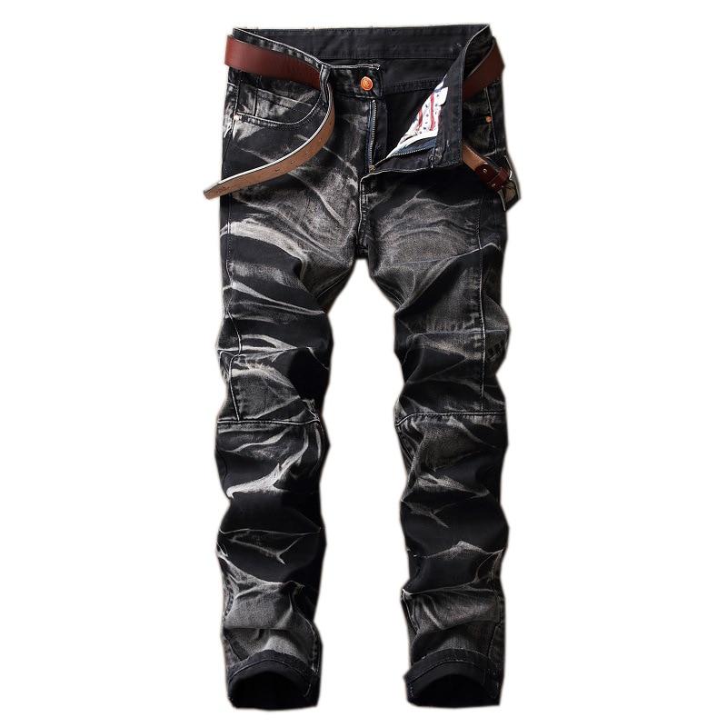Gothic Style Design 2019 New Fashion Hole Destroyed Mens Slim Denim Straight Biker Skinny Jeans