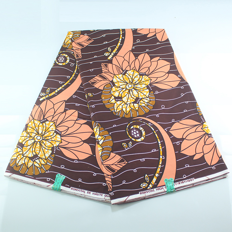 2020 100% Cotton High Quality Ankara Pagne African Fabric Wax Print 6 Yards African Fabric Holland