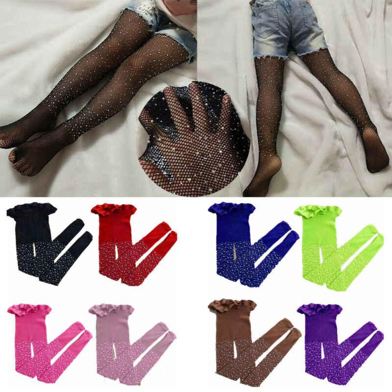 2019 ילדים חדשים תינוק בנות ריינסטון גרבי רשת ילדי ילדה רשת גרביונים הולו מתוך גרביונים גרבי ילדה