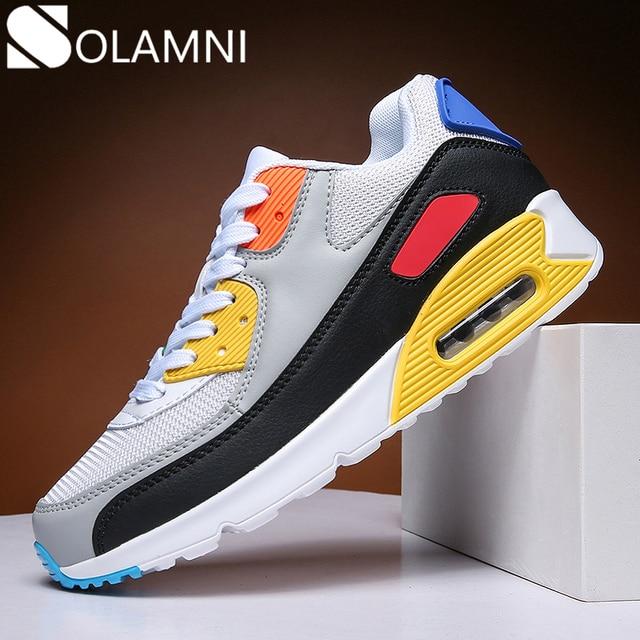 Baskets à coussin dair pour hommes, chaussures plates unisexes en maille respirantes pour hommes chaussures décontractées, baskets dextérieur de marche chaussures de Jogging
