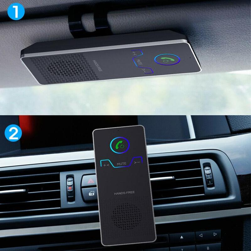 Wireless Bluetooth Handsfree Car Kit Sun Visor Type Car Bluetooth Handsfree Receiver Dual Connection Vehicles Receiver Adapter