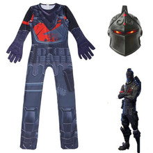 Kids Children Game Black Knight Cosplay Costume Zentai Bodysuit Suit Jumpsuits Halloween Mask