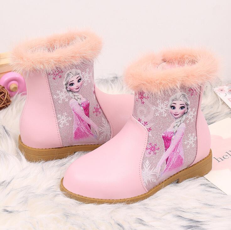 Kids Cartoon Boots Autumn Winter New Girls Princess Boots Girls Fashion Elsa Children Shoes