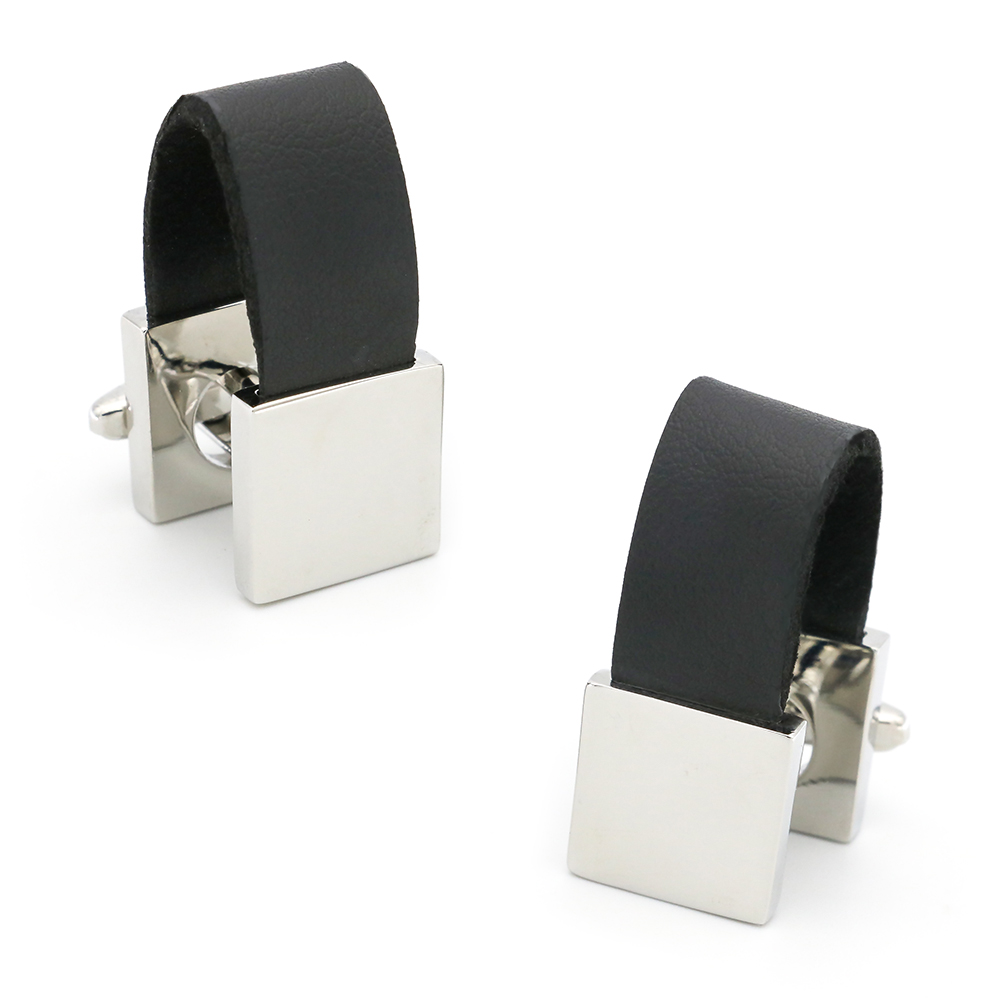 Leather Chain Cuff Links For Men Engravable Design Quality Brass Material Cuff Links Wholesale&retail