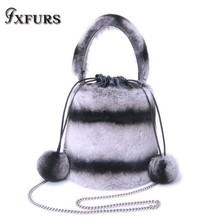 2019 New Style Real Rex Rabbit Fur Handbags Ball Chain Bucket Bag Hand b/l Shoulder Slant Shoulder Female Bag Tide Winter Warm цена