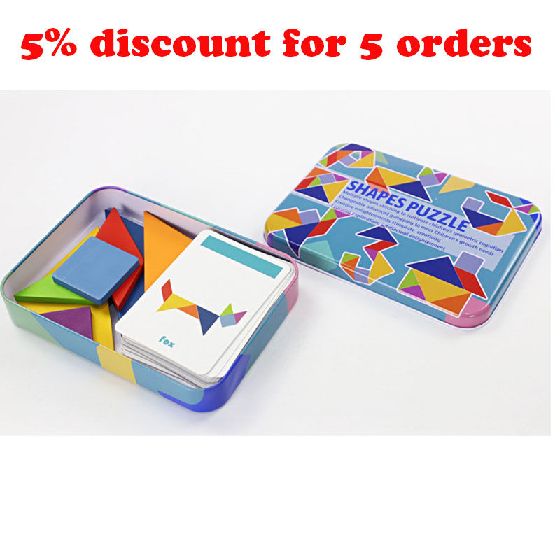 Wooden Pattern Animal Jigsaw Puzzle Colorful Tangram Toy Kids Montessori Early Education Sorting Games Toys Children Gift