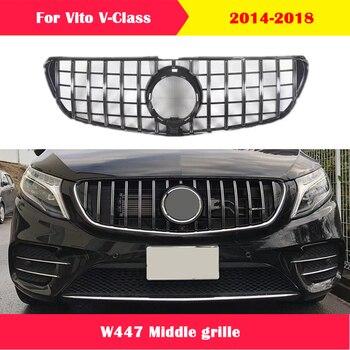 Rejilla media de estilo de coche para mercedes-benz Vito v-class W447 V250 V260 ABS rejilla frontal de plástico diamante estilo GT 2014-2018