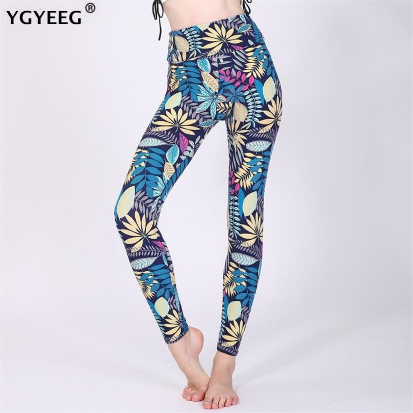 YGYEEG 2019 New Fashion Women Leggings Tropical Leaves Printing Blue Legging Sexy Silm Legins High Waist Stretch Trouser Pants