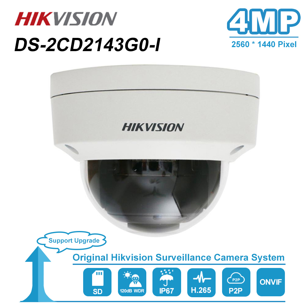 Hikvision 4MP 2.8/4mm Fixed Lens Dome Network IP Camera Weatherproof IP67 Night Vision IR Distance 30m H.265+ DS-2CD2143G0-I