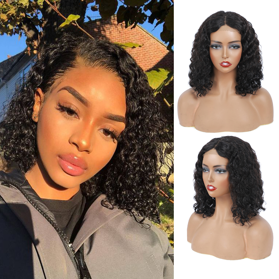 Deep Wave Closure Bob Wig  Lace Frontal Wigs 180 Lace Front Pre Plucked Bleached Knots Wigs  4x4 Frontal Lace Wig 1