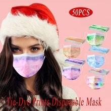 Masque de protection facial unisexe, imprimé Tie-Dye, 3 couches, respirant, doux, jetable, protection buccale, tendance, pour adultes, 50 pièces