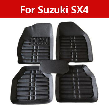 Durable Wear-Resisting Leather Car Floor Mats Special Pads For Suzuki Sx4 Full Protection Car Accessories image