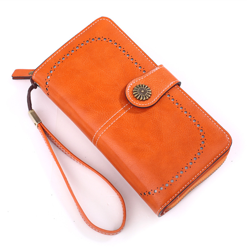 New waxed wallet female zipper long retro oil phone bag card coin bag hand bag in Wallets from Luggage Bags