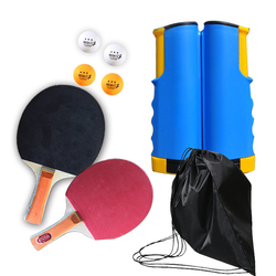 Portable Ping Pong Racket with Retractable Table Tennis Net Set Pimples In Long Handle Paddle With 4 Balls + Bag