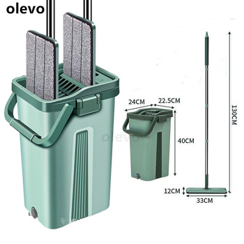 Mop z kubkiem wyciskającym Mop do mycia Floo Mop System gospodarstwa domowego do sprzątanie domu płaski Mop z mikrofibry z kubkiem wycisnąć tanie i dobre opinie olevo CN (pochodzenie) Tkanina z mikrofibry 10 sekund Typu Hook Loop Kosz z tworzywa sztucznego Z 1 mophead 80 -90