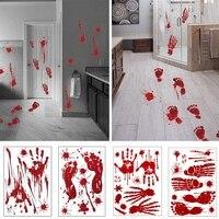 Halloween Waterproof Blood Handprint Blood Footprint Wall Sticker Horror Home Bathroom Decoration Sticker Festival Party Supply