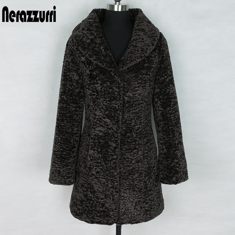 Nerazzurri Winter Faux Fur Coat Women Slim Fit Turn-down Collar Long Sleeve Black Teddy Coat  Plus Size Faux Fur Jacket 5xl 6xl