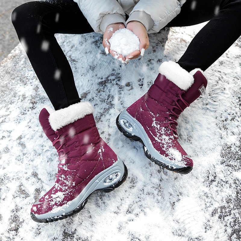 RECOISIN Mùa Đông Nữ Cổ Cao Chất Lượng Giữ Ấm Giữa Bắp Chân Ủng Nữ Cột Dây Thoải Mái Nữ Giày chaussure Femme