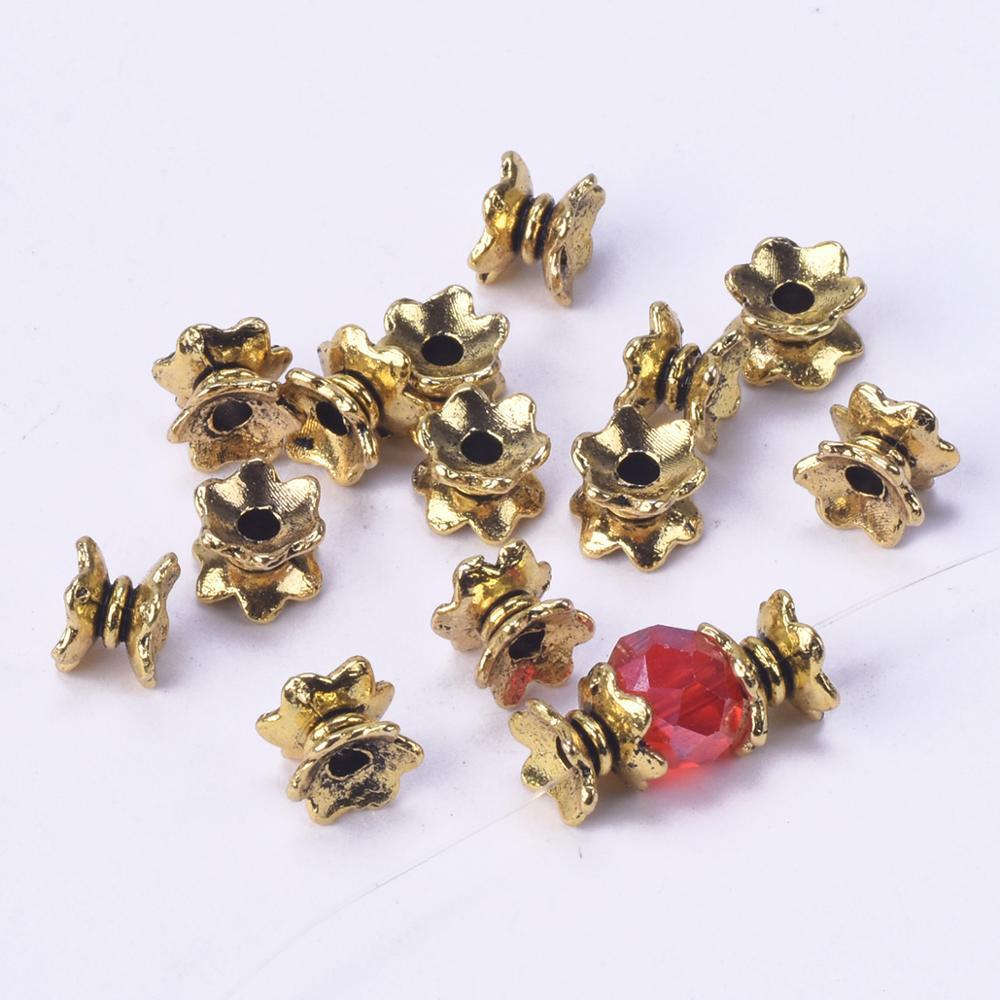 50 шт., античное золото 7Х4 мм, металлические свободные бусины-разделители для самостоятельного изготовления ювелирных изделий
